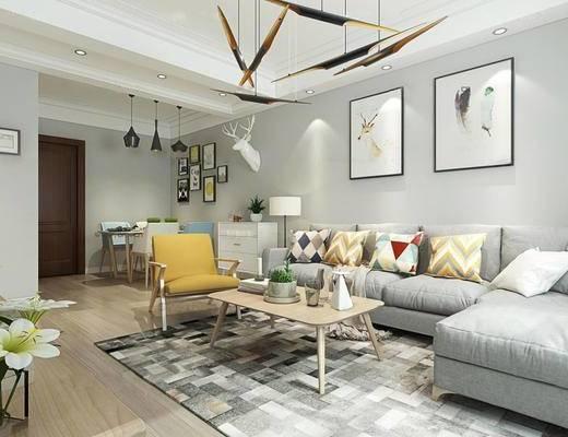 现代客厅, 转角沙发, 茶几, 单椅, 墙饰, 盆栽, 绿植, 现代