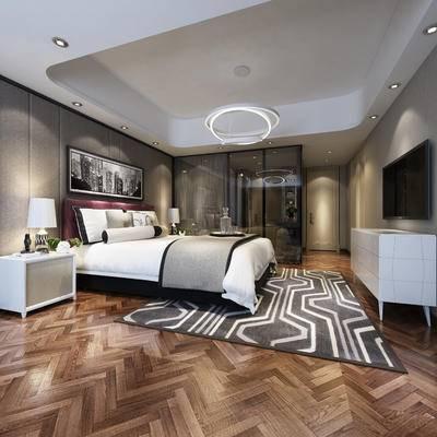 现代卧室, 壁画, 双人床, 吊灯, 床头柜, 台灯, 电视柜, 地毯, 现代