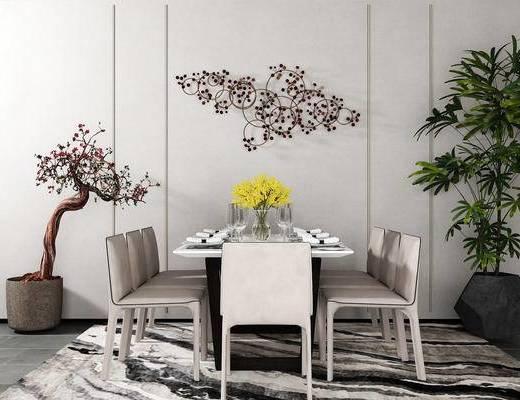 桌椅组合, 壁画, 椅子, 桌子, 盆栽, 花瓶, 新中式