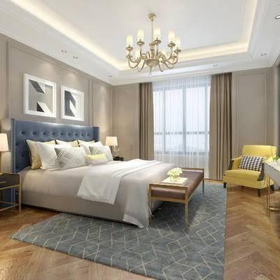 现代卧室, 吊灯, 双人床, 壁画, 单人沙发, 边几, 台灯, 床尾塌, 地毯, 现代