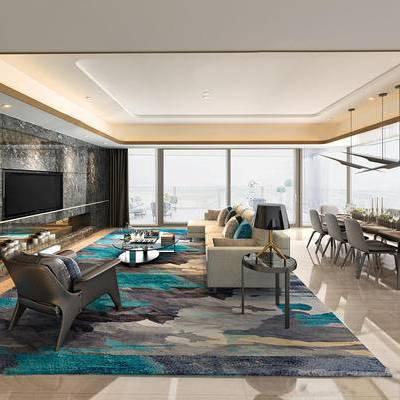 现代客厅, 椅子, 桌子, 吊灯, 边几, 台灯, 茶几, 多人沙发, 地毯, 现代