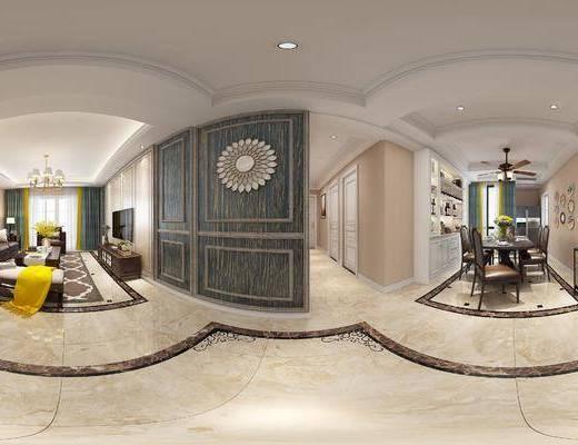 简美客厅, 沙发茶几组合, 电视柜, 壁画, 台灯, 边柜, 马头挂件装饰, 桌椅组合, 吊灯, 红酒柜, 沙发凳, 简美