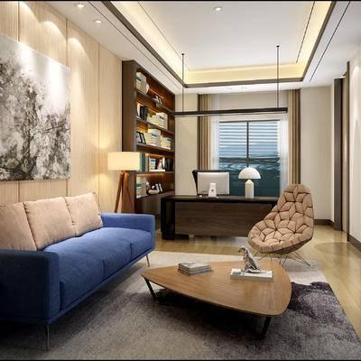中式办公室, 壁画, 多人沙发, 茶几, 边几, 台灯, 置物柜, 桌子, 椅子, 吊灯, 中式