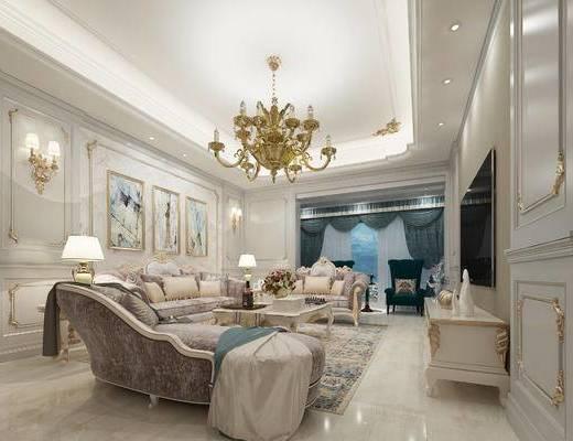 欧式客厅, 吊灯, 多人沙发, 茶几, 壁画, 边几, 台灯, 椅子, 电视柜, 欧式