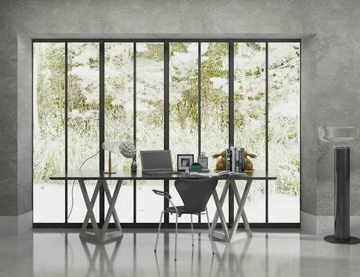 办公桌, 桌子, 椅子, 台灯, 落地灯, 现代
