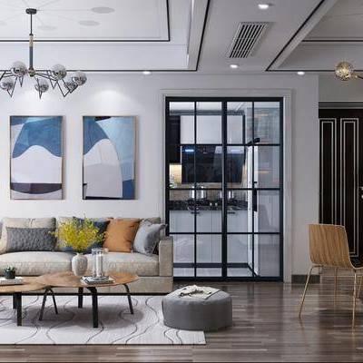 現代客廳, 現代沙發茶幾組合, 吊燈, 沙發單椅, 落地燈, 桌椅組合, 壁畫, 沙發凳, 櫥柜, 現代