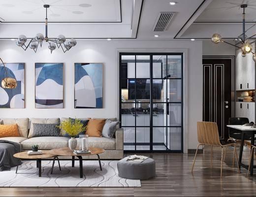 现代客厅, 现代沙发茶几组合, 吊灯, 沙发单椅, 落地灯, 桌椅组合, 壁画, 沙发凳, 橱柜, 现代