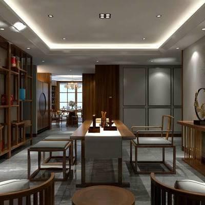 书房, 置物柜, 桌子, 椅子, 边几, 吊灯, 中式