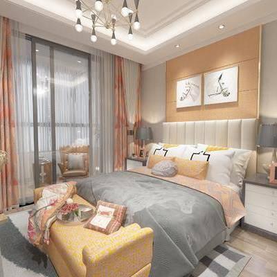 现代间约卧室, 双人床, 吊灯, 壁画, 床头柜, 台灯, 床尾塌, 相框, 现代雕塑, 现代