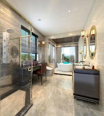 卫生间, 洗手台, 壁灯, 镜子, 浴缸, 马桶, 桌子, 椅子, 淋浴间, 现代