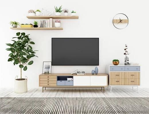 电视柜, 置物柜, 盆栽, 现代