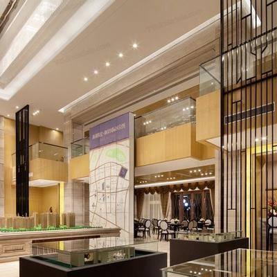 CAD, 施工图, 工装, 售楼大堂, 大厅, 效果图, 平面施工图, 立面施工图
