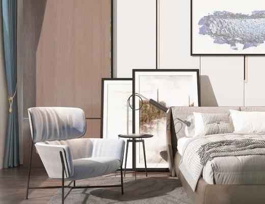 双人床, 椅子, 边几, 壁画, 现代