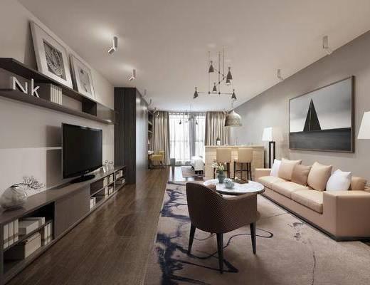 现代公寓, 壁画, 多人沙发, 吊灯, 置物柜, 茶几, 椅子, 置物架, 现代