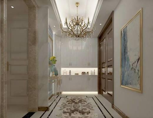 欧式玄关走廊, 吊灯, 边柜, 壁画, 边几, 欧式