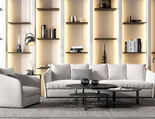 现代简约, 沙发茶几组合, 置物架, 陈设品组合