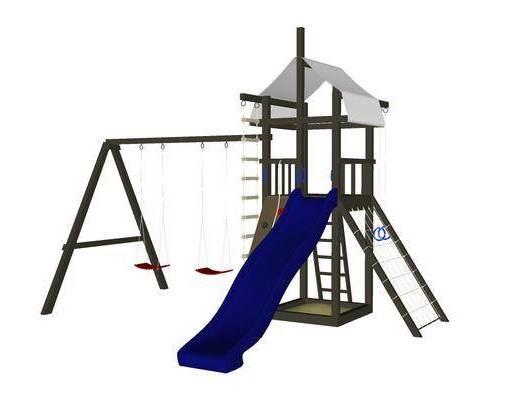 现代, 儿童, 滑梯, 游乐设备
