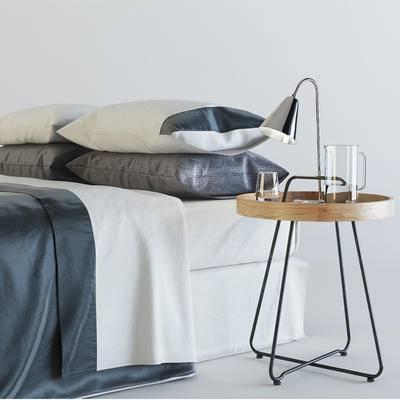 床, 简欧, 落地灯, 水杯