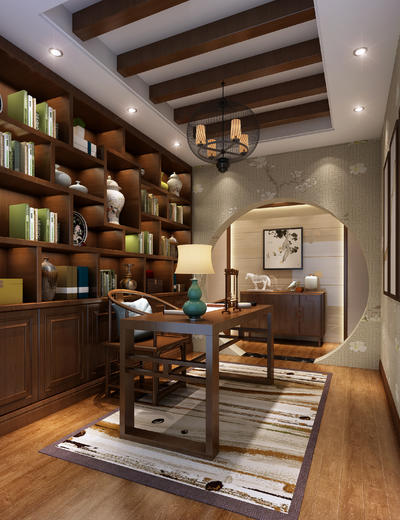 新中式书房, 吊灯, 桌子, 椅子, 置物柜, 边柜, 壁画, 台灯, 地毯, 新中式