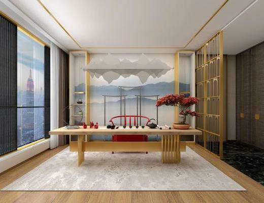 新中式茶室, 桌子, 椅子, 壁画, 盆栽, 新中式