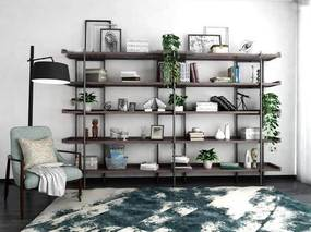 北欧, 置物架, 陈设品, 书籍, 落地灯, 单椅, 植物