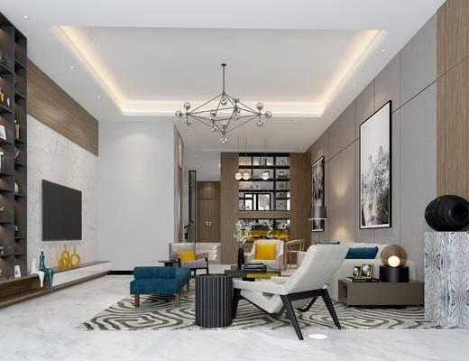 现代客厅, 壁画, 多人沙发, 茶几, 椅子, 电视柜, 置物柜, 吊灯, 台灯, 现代