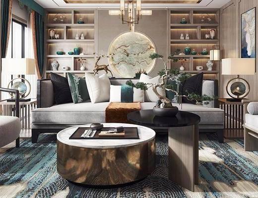 客厅, 多人沙发, 茶几, 单椅, 壁画, 边几, 台灯, 储物柜, 吊灯, 壁灯, 盆栽, 沙发躺椅, 新中式