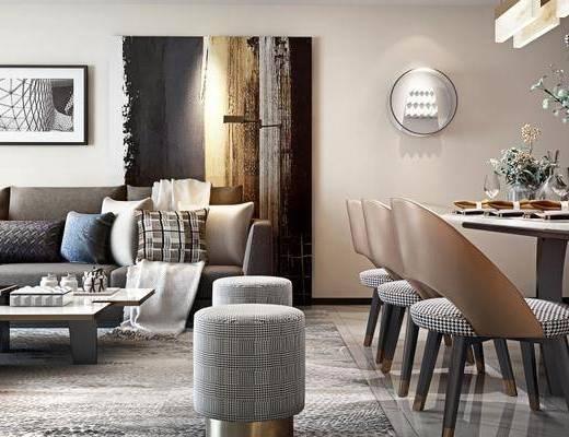 现代客厅, 多人沙发, 茶几, 沙发凳, 餐桌, 挂画, 现代