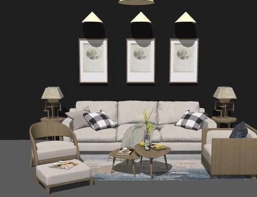 沙发组合, 多人沙发, 茶几, 壁画, 边几, 椅子, 吊灯, 台灯, 沙发脚踏, 现代