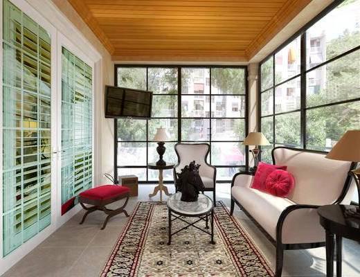 阳台, 露台, 多人沙发, 椅子, 边几, 台灯, 沙发凳, 电视, 地毯, 简欧