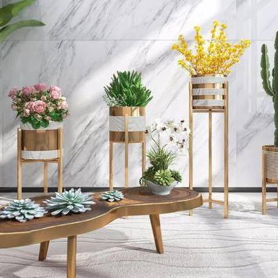 现代简约, 花瓶, 植物盆栽, 下得乐3888套模型合辑