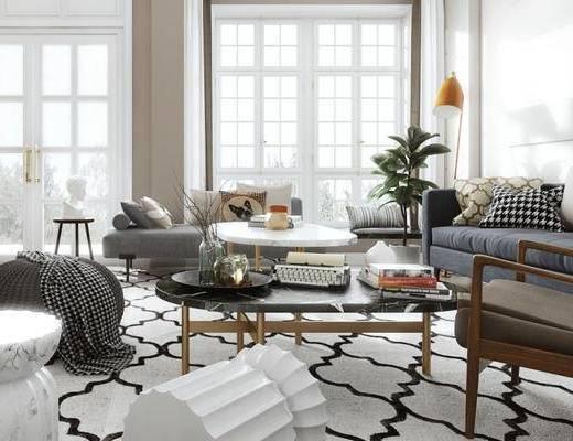 北欧, 客厅, 沙发, 茶几, 落地灯, 盆栽, 摆件, 陈设品