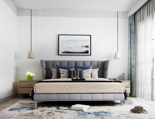 床具组合, 双人床, 床头柜, 吊灯, 壁画, 北欧
