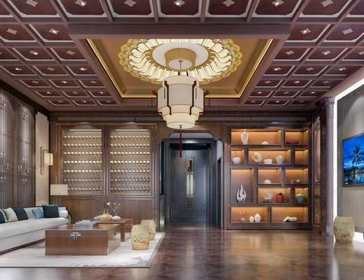 中式影音室, 中式沙发, 置物柜, 茶几, 吊灯, 凳子, 中式