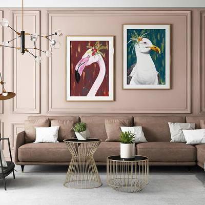 现代, 沙发, 茶几, 吊灯, 挂画, 装饰画, 落地灯, 盆栽