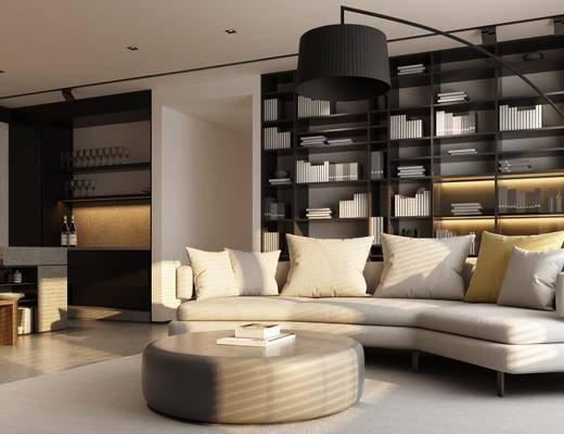 现代, 客厅, 沙发, 茶几, 置物架, 摆件, 落地灯