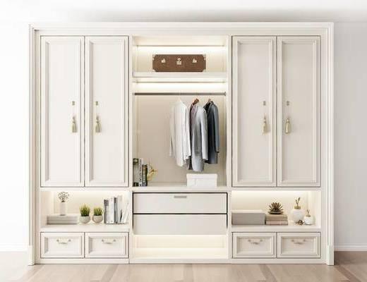 摆件组合, 衣柜, 衣物, 简欧