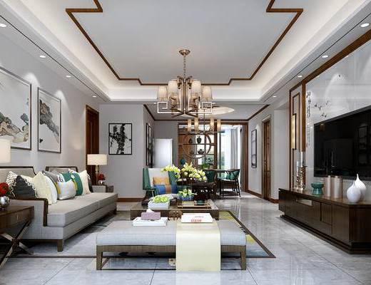 中式客厅, 客厅, 中式沙发, 沙发组合, 吊灯, 电视柜