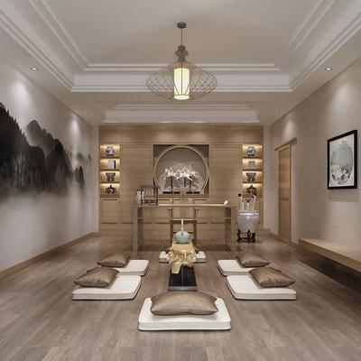中式书房, 吊灯, 壁画, 桌子, 椅子, 置物柜, 中式