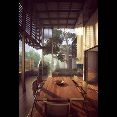 中式, 庭院, 餐桌椅, 木椅, 植物, 1000套空间酷赠送模型