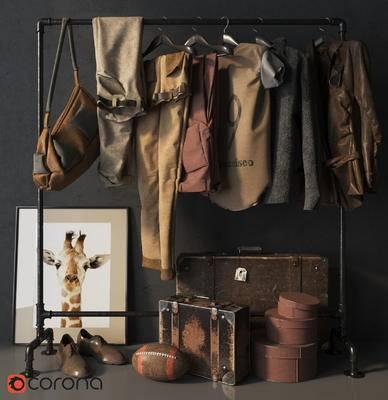 工业风, 美式, 衣架, 衣橱