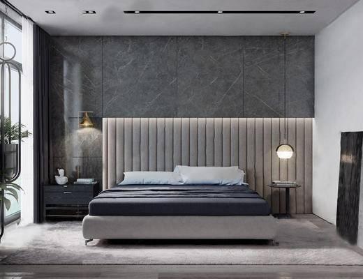 双人床, 床具组合, 壁灯