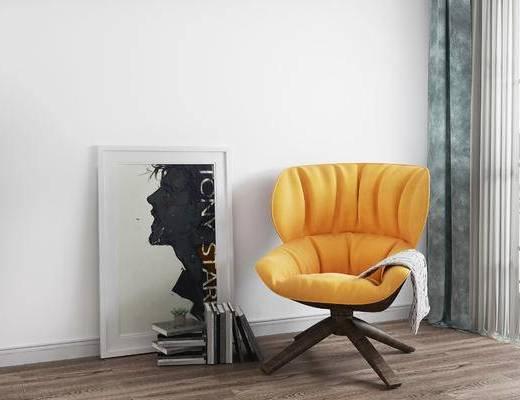 单椅, 装饰画, 北欧