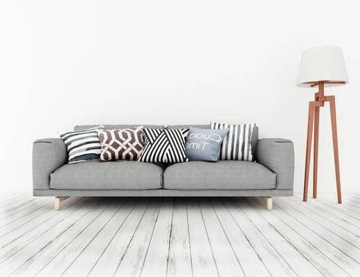 双人沙发, 落地灯, 北欧