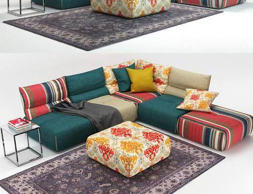 美式简约, 沙发, 多人沙发, 美式沙发