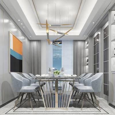 现代餐厅, 吊灯, 桌子, 椅子, 壁画, 酒柜, 现代