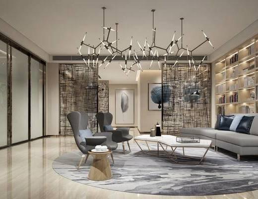會客區, 多人沙發, 吊燈, 壁畫, 茶幾, 椅子, 邊幾, 落地燈, 置物柜, 地毯, 現代