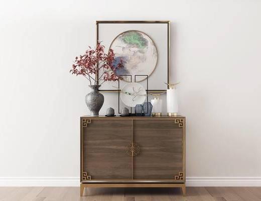 摆件组合, 装饰柜, 装饰画, 花瓶, 新中式