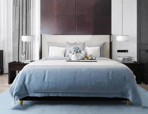 现代简约, 床具组合, 台灯, 床头柜