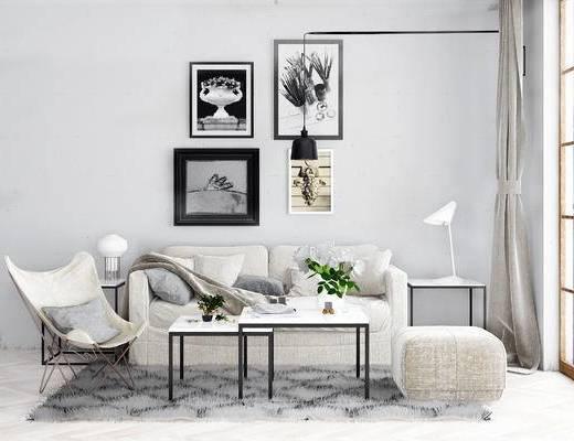 沙发组合, 双人沙发, 茶几, 椅子, 边几, 壁画, 北欧